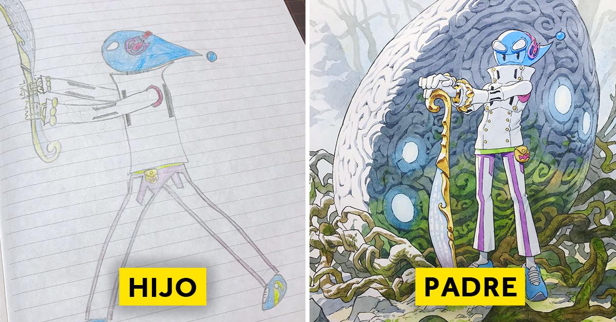 padre convierte los dibujos de su hijo en personajes de anime con un resultado espectacular 07