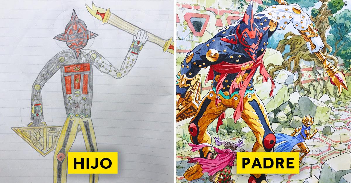 padre convierte los dibujos de su hijo en personajes de anime con un resultado espectacular 08