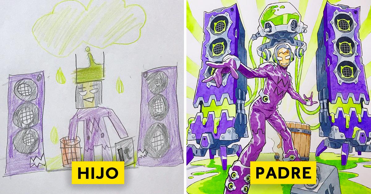 padre convierte los dibujos de su hijo en personajes de anime con un resultado espectacular 09