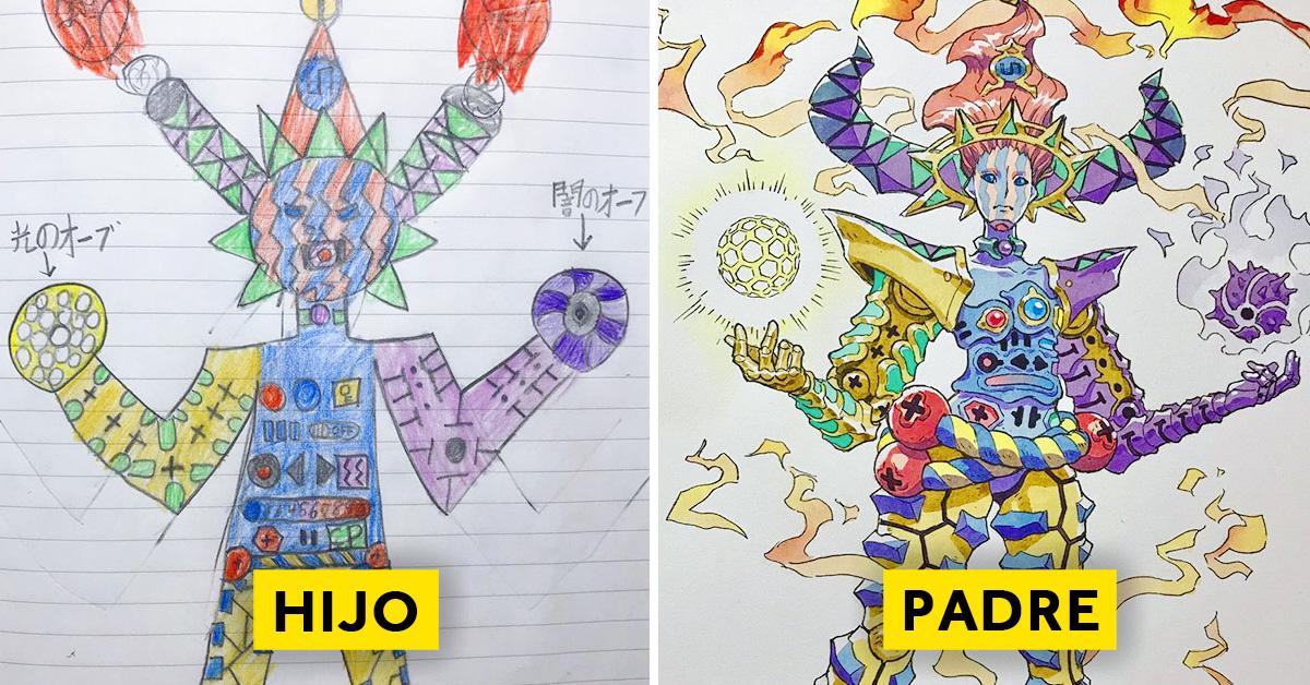 padre convierte los dibujos de su hijo en personajes de anime con un resultado espectacular 10