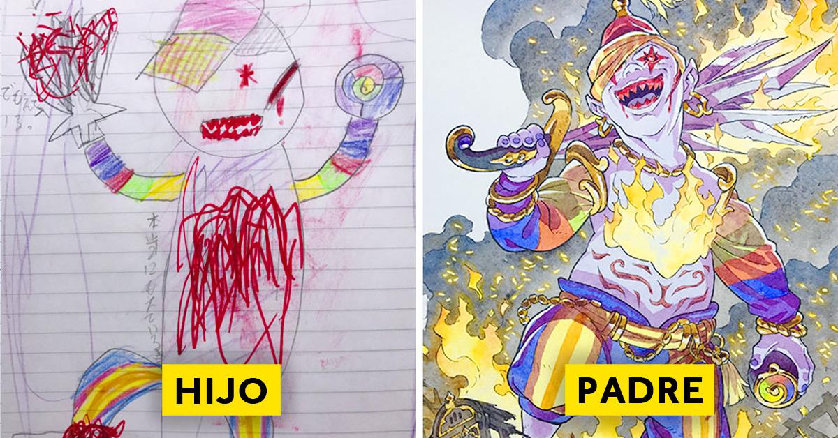 padre convierte los dibujos de su hijo en personajes de anime con un resultado espectacular 11