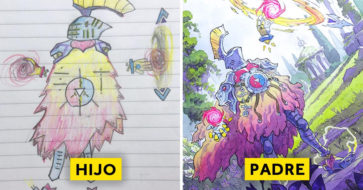 padre convierte los dibujos de su hijo en personajes de anime con un resultado espectacular 12