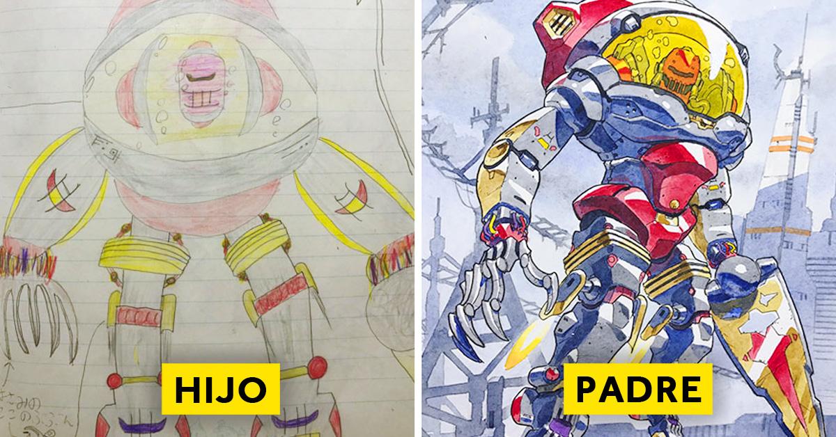 padre convierte los dibujos de su hijo en personajes de anime con un resultado espectacular 13