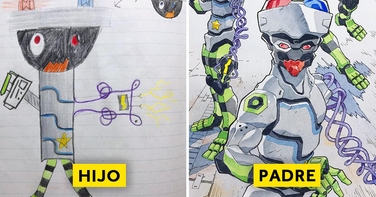 padre convierte los dibujos de su hijo en personajes de anime con un resultado espectacular 14