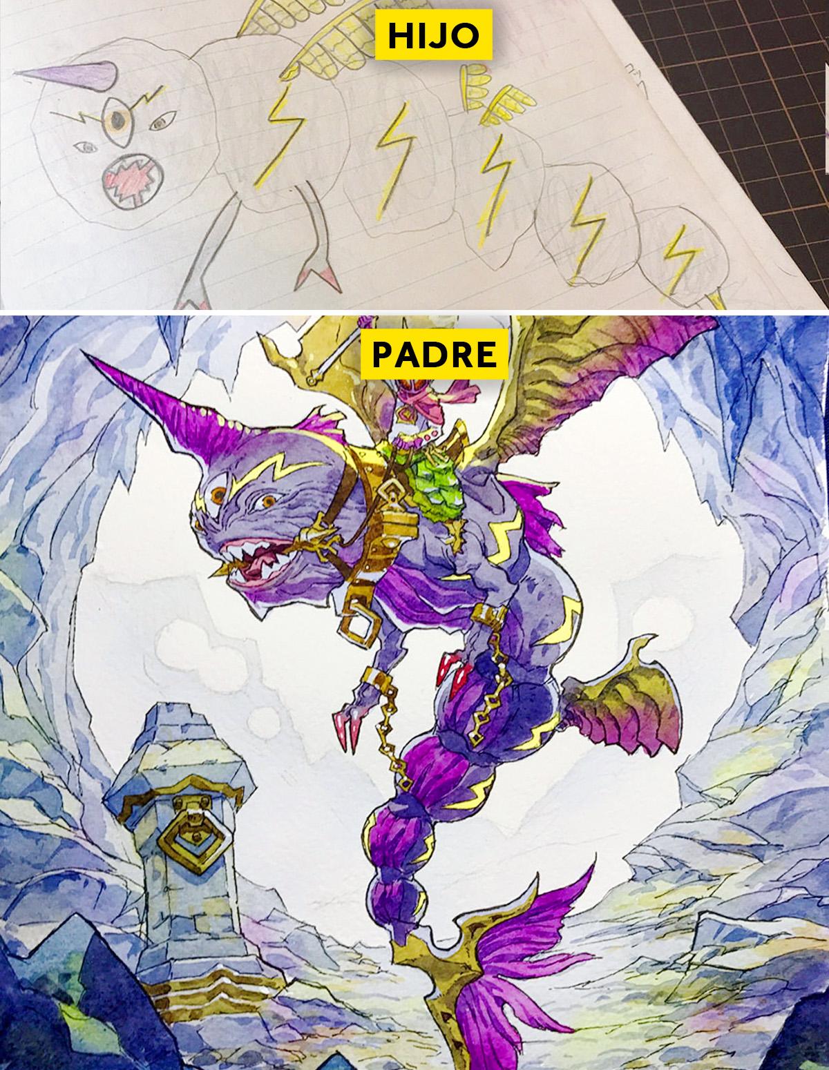 padre convierte los dibujos de su hijo en personajes de anime con un resultado espectacular 15