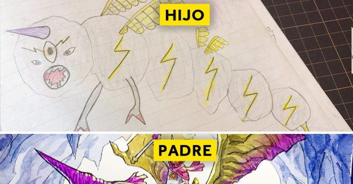 padre convierte los dibujos de su hijo en personajes de anime con un resultado espectacular banner 1