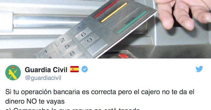 la guardia civil advierte jamas abandones un cajero si no te ha dado tu dinero banner